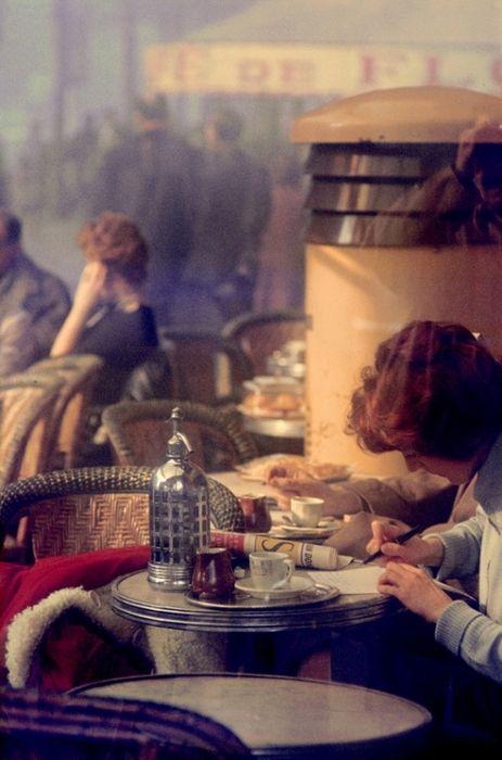 Saul Leiter, Café des Deux Magots, Saint-Germain-des-Prés, 1959.: Photographers, Color, Saulleiter, Deux Magots, Fine Art Photography, Paris1959, Cafe, Paris 1959, Saul Manager