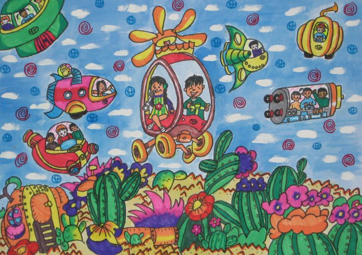 'Turning Desert into Green Toyota Car' by Xiao Pei Yuan, Aged 9, China: 4th Contest, Bronze #KidsArt #ToyotaDreamCar