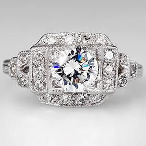 1950's Diamond Vintage Engagement Ring Platinum