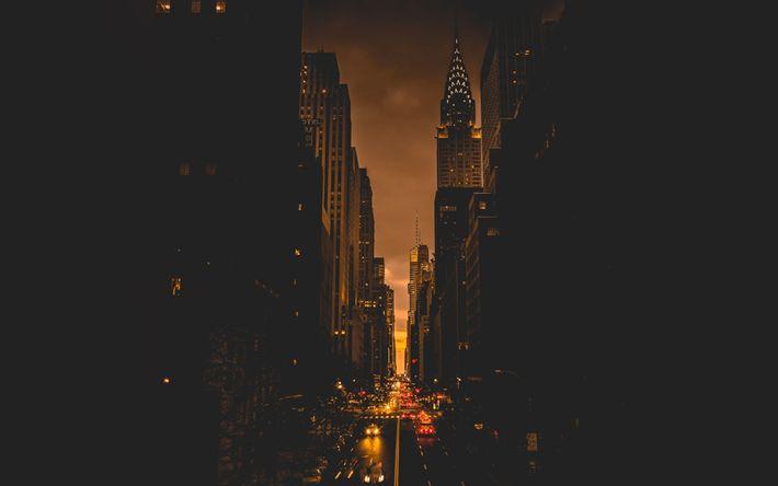 Hämta bilder New York, natt, metropol, road, skyskrapor, USA, Amerika