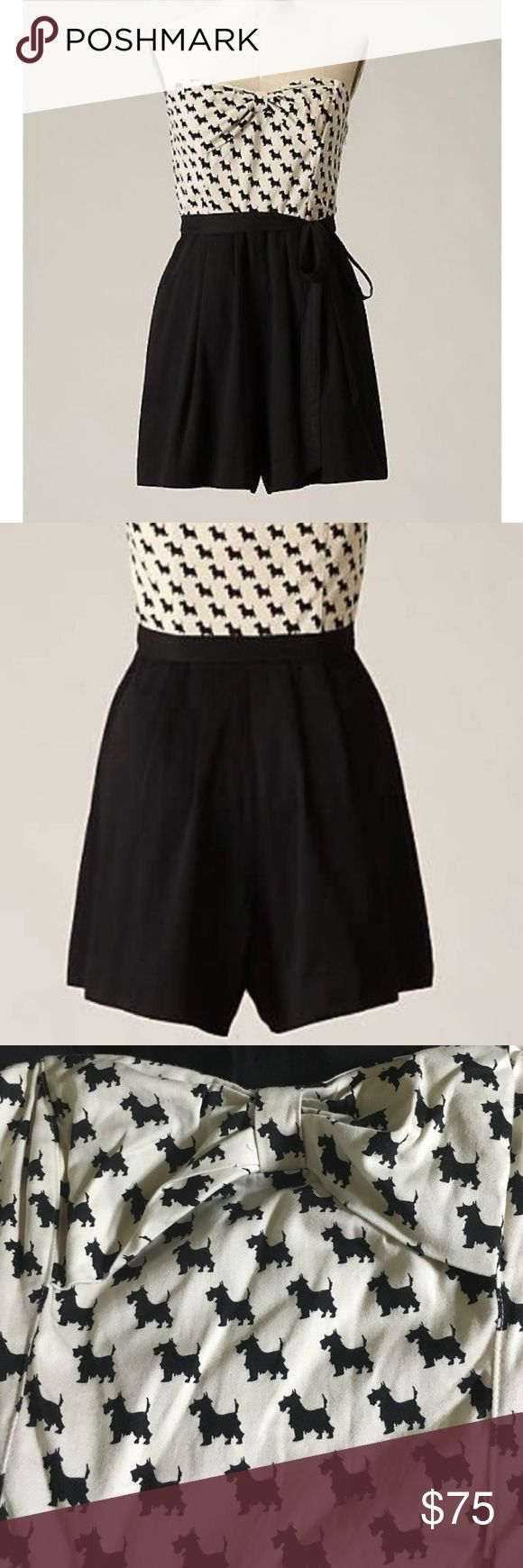 Anthropologie Black & White Scottie Dog Romper Strapless Playsuit romper by Maeve from Anthropologie. Size 6. Worn once. No belt included Anthropologie Dresses