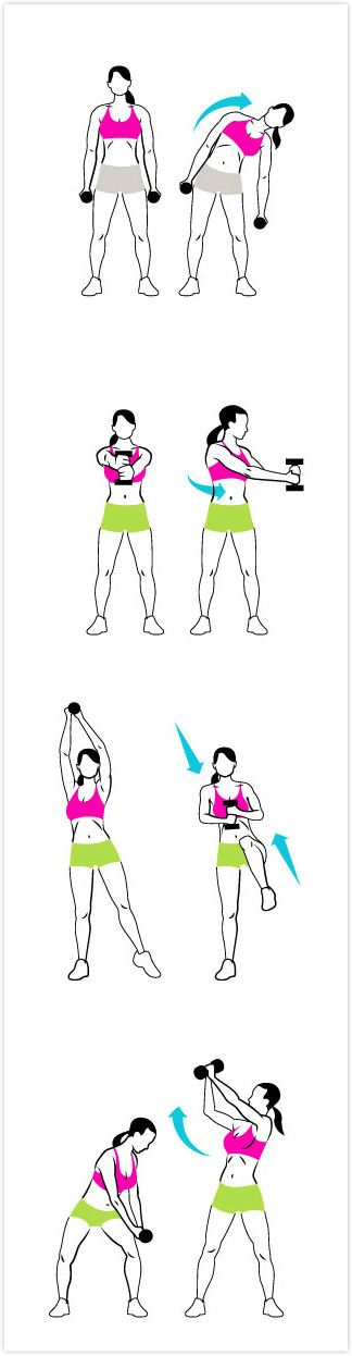 Stand Up for Flat Abs 1.Dumbbell Side Bend Hold... - Inspiring picture on Joyzz.com