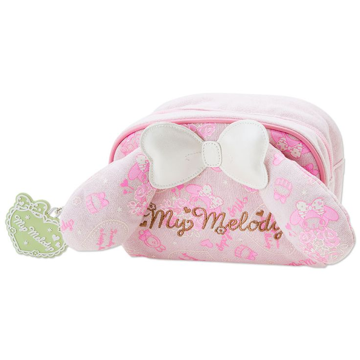 My Melody Pouch Cosmetic Bag with Ears SANRIO JAPAN Logo