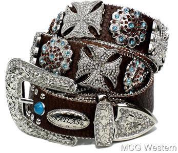 bling bling belts | Cowgirl Rhinestone Clear Maltese Cross Leather Western Bling Belt Med ...
