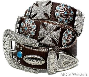 bling bling belts | Cowgirl Rhinestone Clear Maltese Cross Leather Western Bling Belt Med ...
