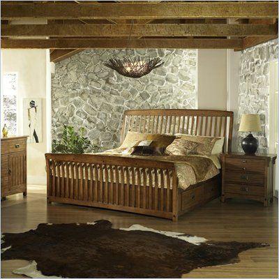 Somerton Craftsman Wood Storage Sleigh Bed 3 Piece Bedroom Set In Blonde Finish