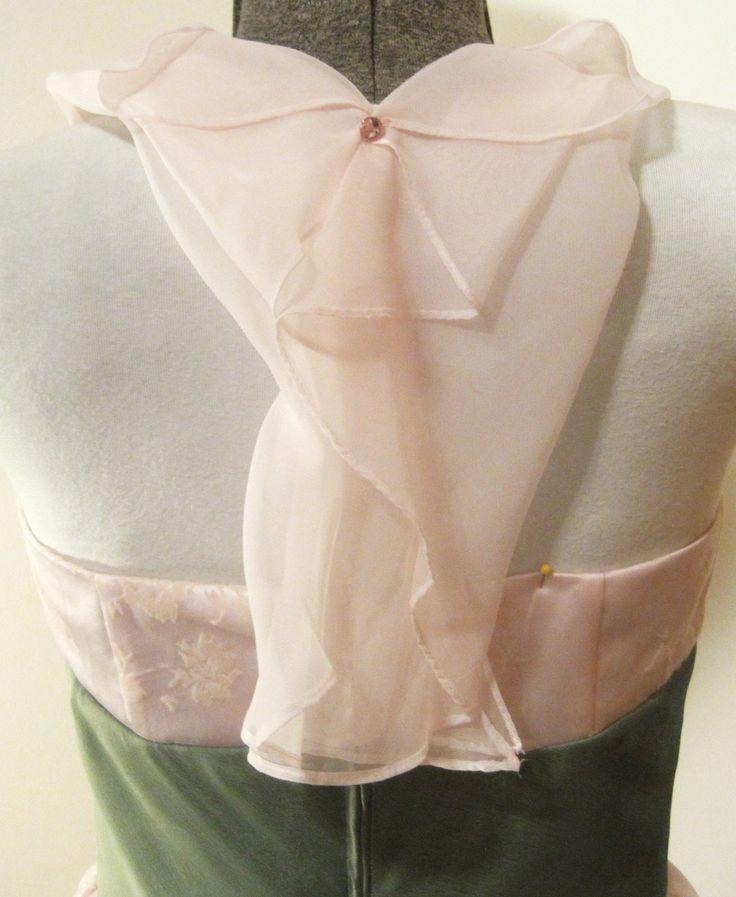 Back of refashioned jacquard dress, with Swarovski holding chiffon halter.