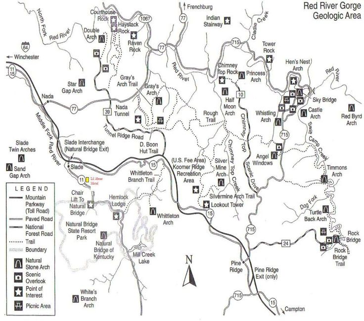 Red River Gorge Hiking Map