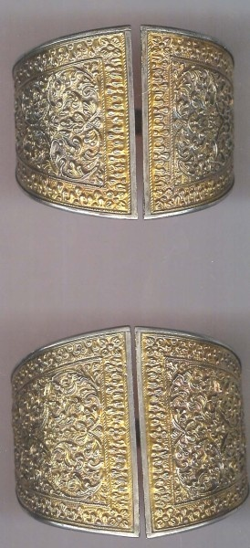 Beautifully details silver gilt cuffs Banda Aceh Indonesia late 19th c