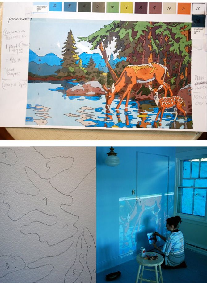 This idea is awesome! Project a paint by numbers picture onto your wall and trace the lines and number.  Then go back and follow the guide but paint the wall instead of the sheet of paper.  Brilliant.