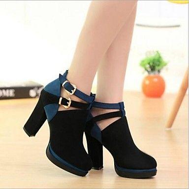 [CyberWeekSale]bombas plataforma sapatos saltos robustos camurça mulheres sapatos mais cores disponíveis –