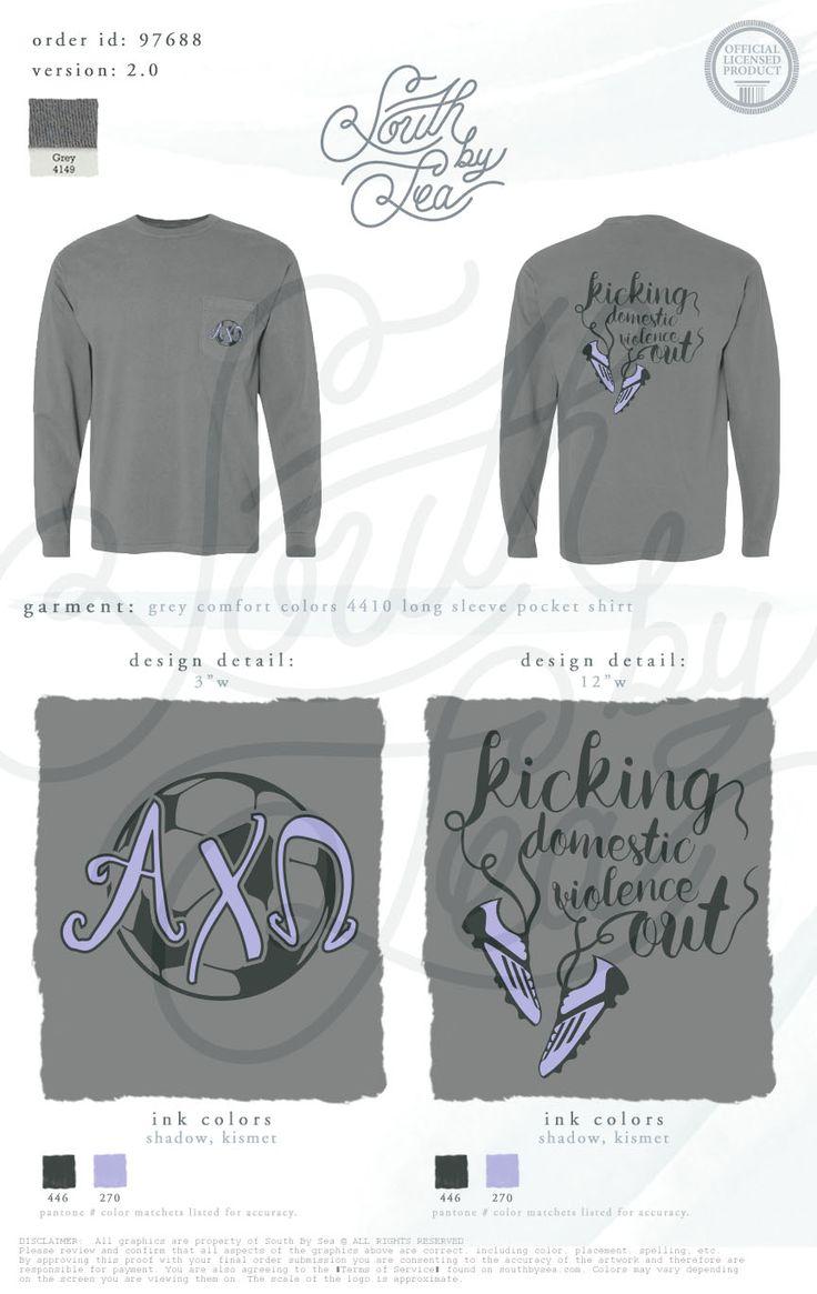 Alpha Chi Omega | Alpha Chi | AXO | Kicking Domestic Violence Out | Philanthropy Tee Shirt Design | Sports Tee Shirt Design | Soccer Tee Shirt Design | South by Sea | Sorority Shirts | Sorority Tanks | Greek Shirts | TShirt Ideas | Tee Shirt Ideas