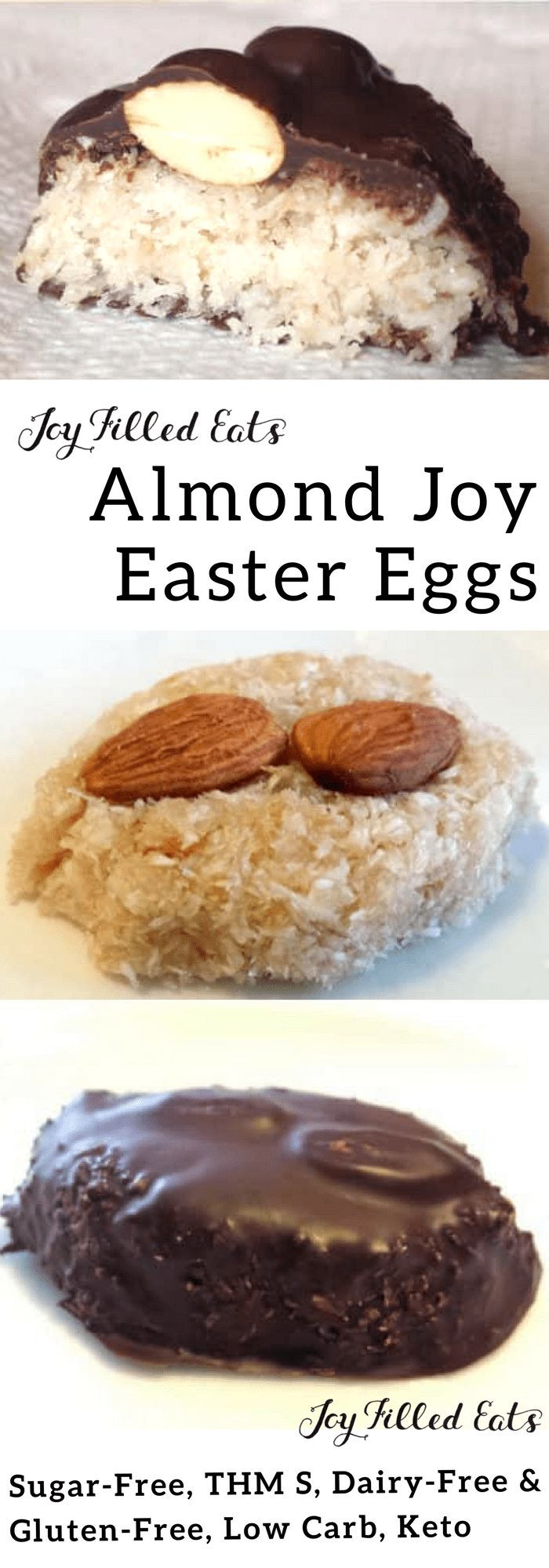 Chewy Almond Joy Easter Eggs Candies – Low Carb, Keto, THM S, Gluten-Free, Sugar-Free, Dairy-Free, Grain-Free - fill your Easter basket with these healthy candies for a no guilt treat!