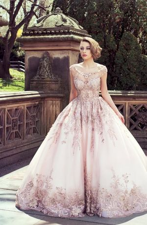 Tip of the Shoulder Princess/Ball Gown Wedding Dress  with Natural Waist in Tulle. Bridal Gown Style Number:33336249