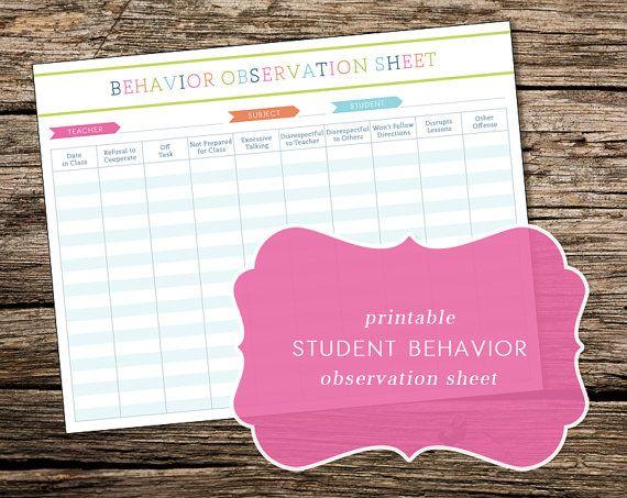 Printable Student Behavior Log / Classroom Observation Sheet