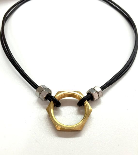 Cool Mens Necklace w/ Hex Nut. Black Leather Necklace. Industrial Jewelry. Mixed Metal Jewelry for Guys and Girls