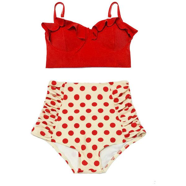 Red Midkini Top and Pollka Dot Highwaisted High Waisted Waist Pin Up... ($40) ❤ liked on Polyvore featuring swimwear, bikinis, grey, women's clothing, high waisted swimsuit, red bikini, retro bikini, pin up swimsuit and red bathing suit