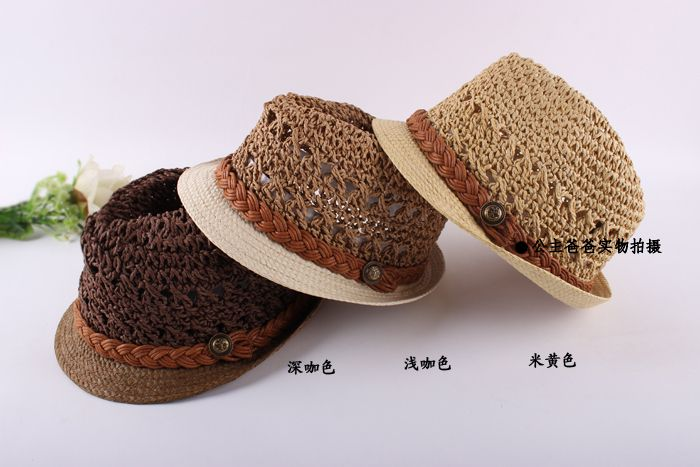 Free shipping Handmade child strawhat baby summer hat sun hat sunbonnet male female child fedoras child jazz hat-inHats & Caps from Apparel ...