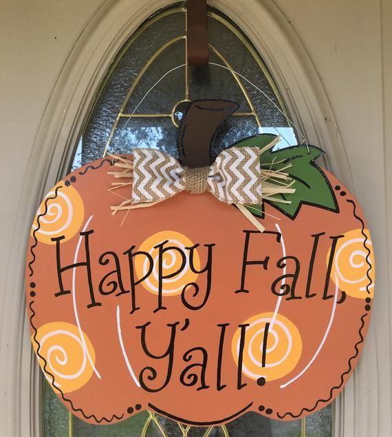 halloween decorations Halloween door hanger Farmhouse Pumpkin Fall Y/'all Door Hanger Fall door hanger halloween door decor