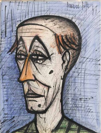 "Tête de clown by Bernard Buffet; 1955; gouache, watercolor, pen and indian ink over pencil on paper; 25.6 x 19.7""   Opera Gallery Dubai DIFC"