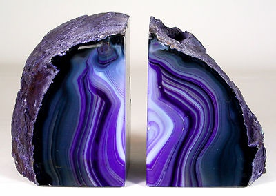 Purple Agate Bookends Geode Crystal Polished Quartz