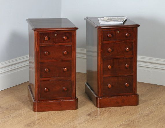 Pair of Antique English Victorian Flame Mahogany Bedside Chests Pot Cupboards Night Stands Cabinets (Circa 1860)