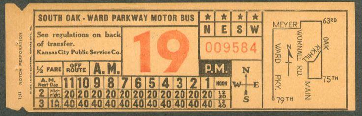 Bus transfer from Kansas City (Missouri) Public Service Company (1941)
