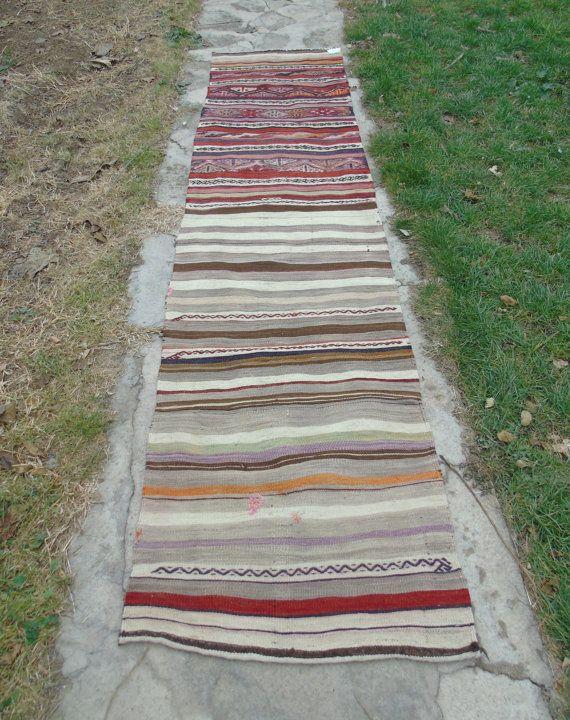 Corridore tappeto 2'0x8 9 cm 64 x 273 intrecciato con Kilim