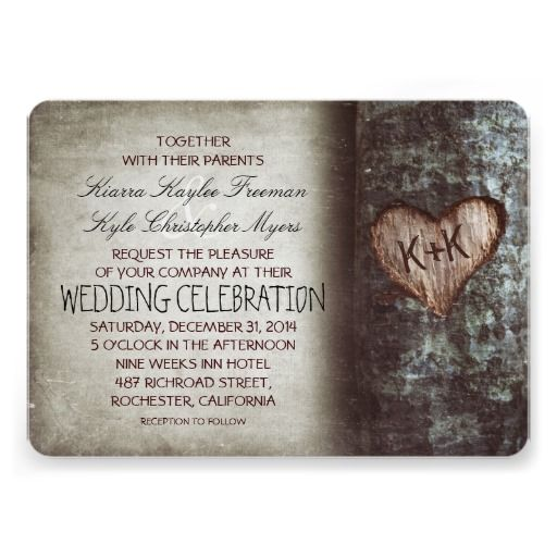Tree Carved Heart Rustic And Vintage Wedding Card