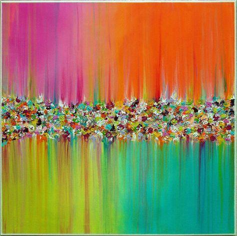 Original Gemälde abstrakt Gemälde Landschaft Gemälde von M.Schöneberg http://www.etsy.com/shop/MilaSchoeneberg?ref=si_shop Titel. Blumen-Regen Größe: 28 x 28 x 0,75 tief. (70 x 70 cm x 1, 8cm) Technik: Acryl auf Leinwand Galerie gewickelt Dominierende Farbe: Pink, lila, Nelke, Rosa, selektiv gelb, Türkis, Orange, Lampe grün Malerei die Seiten sind weiß Fertig zum Aufhängen Letzte Schicht Lack wurde zum Schutz angewandt Signiert und datiert: auf der Rückseite des Künstlers ZIMMER ...