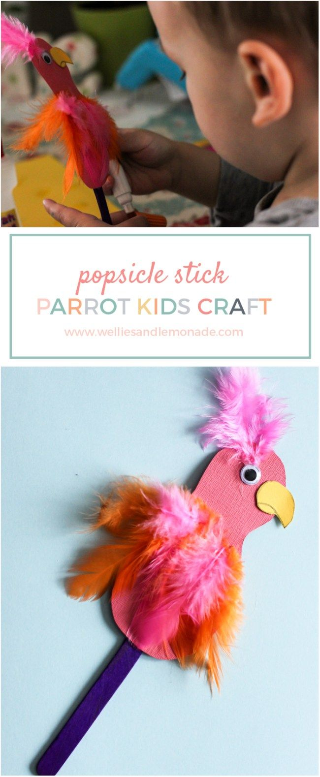 Let your kids have fun with this easy parrot popsicle craft