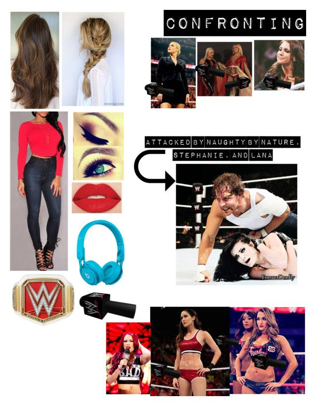 """""""Kaitlyn, Team Bella, and Kaitlyn's best friend Sasha Banks confronting Naughty by Nature, Stephanie McMahon, and Lana about them attacking Kaitlyn's husband Dean Ambrose and their close friend Paige"""" by kaitlyngilmore ❤ liked on Polyvore featuring Beats by Dr. Dre, Smashbox and WWE"""