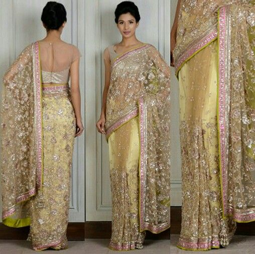 Gold Net Embroidered Sari - Manish Malhotra Saree