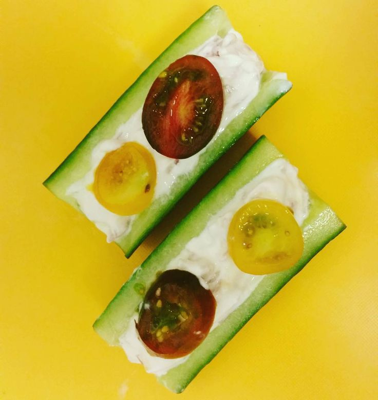 Soft cheese and shallot stuffed cucumber boats. #akeencook  Editing