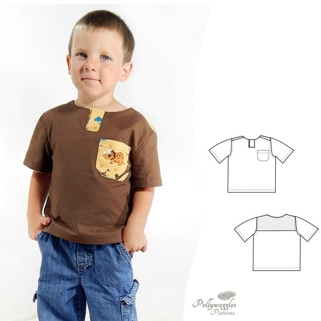 The Benjamin Tyler shirt is a PDF sewing pattern by Pollywoggles for woven cotton fabric.