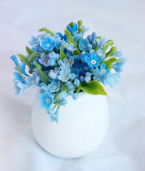 cup with myosotis forget me not flower table by IrynaFleur