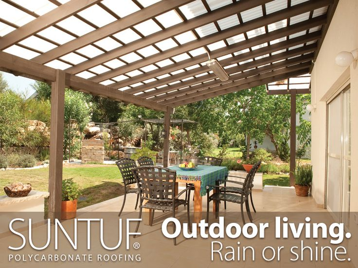 This large patio space can be used year-round, thanks to a Suntuf® Roof. For maximum light transmission, use clear. For more shade, use white or solar gray.