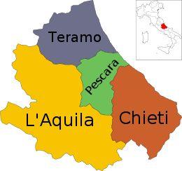 Mappa dell'Abruzzo con le province