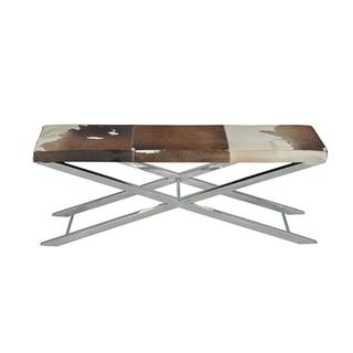 Shop for Choco/ White Hide Artisan Cross Bench. Get free shipping at Overstock.com - Your Online Furniture Outlet Store! Get 5% in rewards with Club O! - 16865514