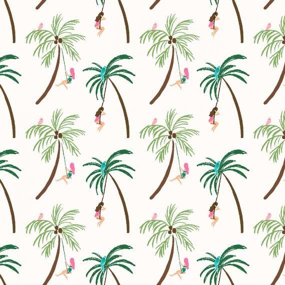 Paradise City Palm Tree Swingers Cream From Dear Stella Fabric