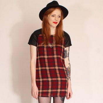Hearts & Bows Burgundy Tinder Tartan Tunic Dress main image