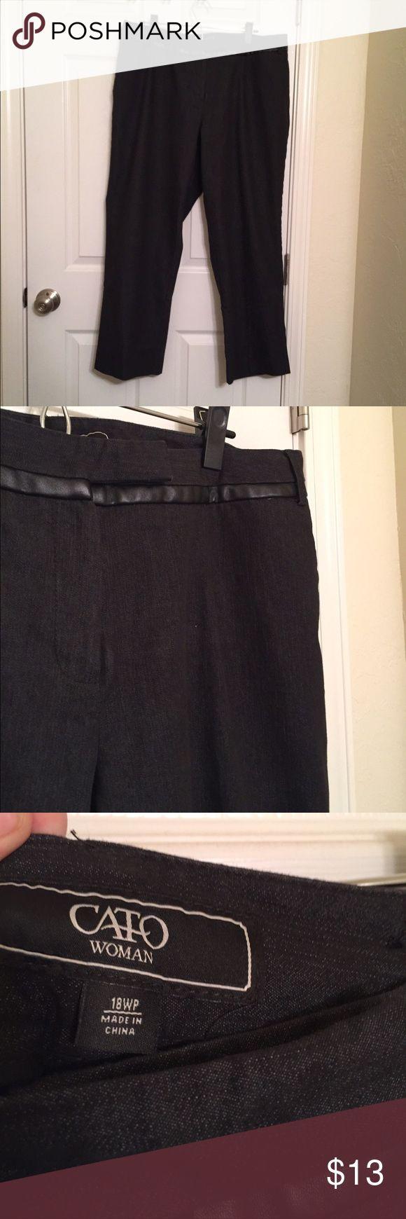 Black denim dress pants Cute black leather trim around waist, size 18W-petite Cato Pants