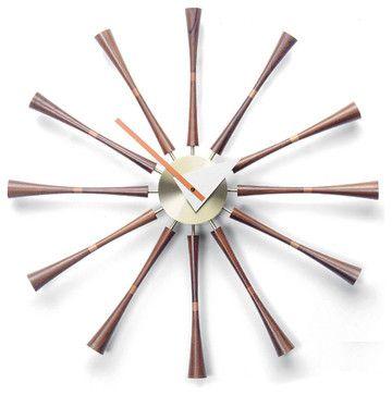 Inova Team -Modern Metal And Wood Sundial Clock - midcentury - Wall Clocks - Inova Team Montreal