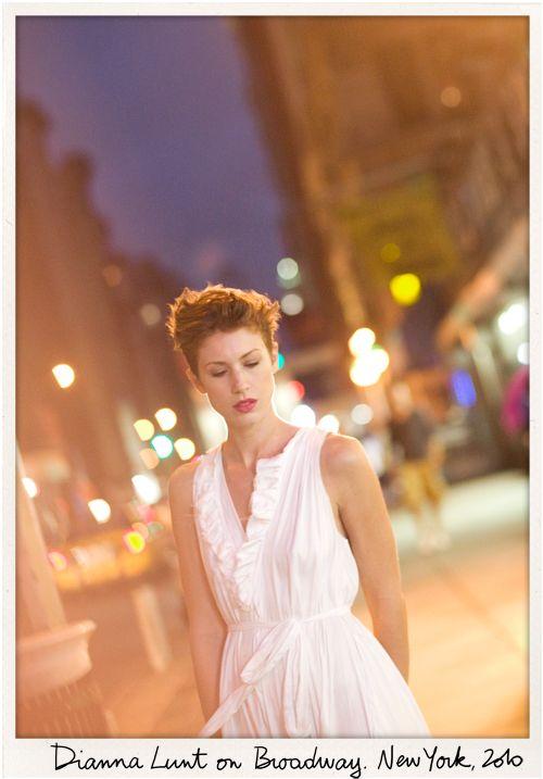 Dianna Lunt, short hair, white dress / Garance Doré