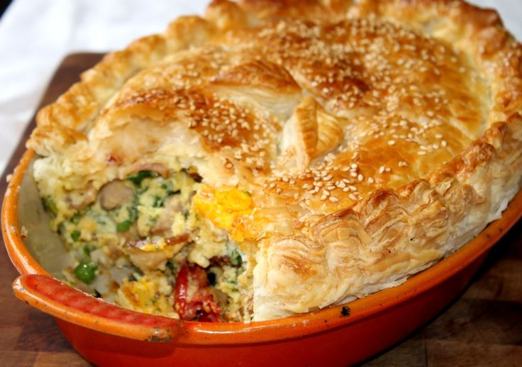 Decadent bacon and egg pie