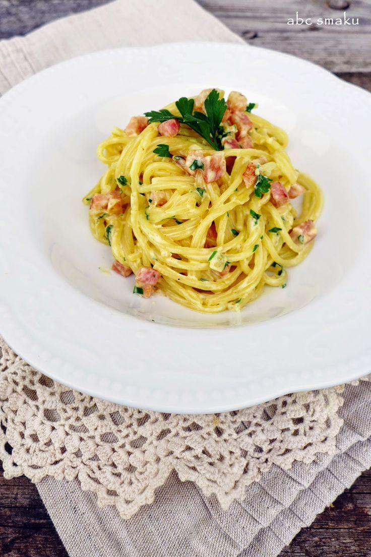 Spaghetti a'la carbonara http://abcsmaku.blogspot.com/2014/09/spaghetti-ala-carbonara.html