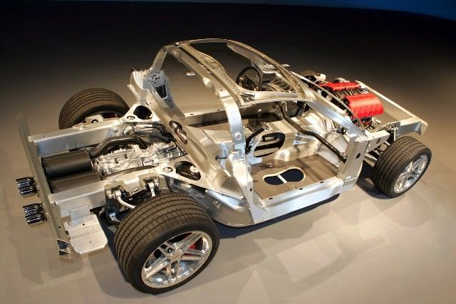 The 2006 Corvette Z06 introduced a unique aluminum-intensive chassis that was significantly lighter than a conventional steel chassis. It is also used on the Corvette ZR1