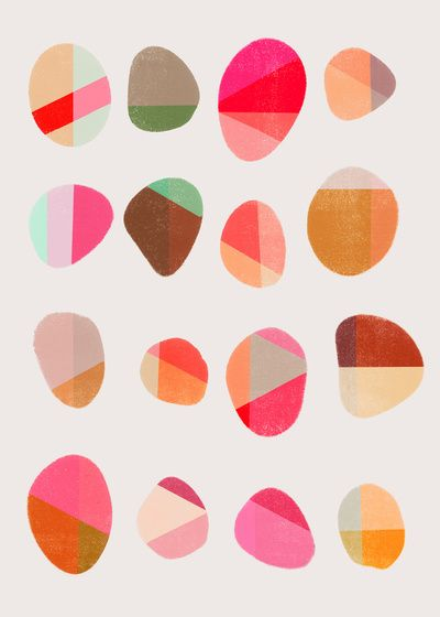 Painted Pebbles by Garima Dhawan I like soothing pastel pink color pallet. Would look good for a girl's nursery.