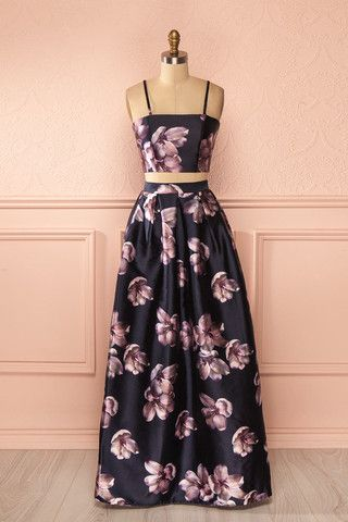 Waiola - Purple flower print crop top and maxi skirt