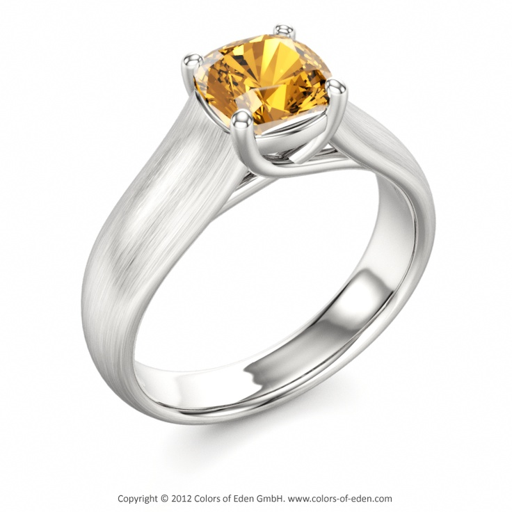 Trendy Citrine Engagement Ring in Satin Finish Gold